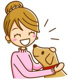 Woman and dog. This is an illustration of a woman and dog Stock Photography