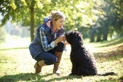 Woman with dog Royalty Free Stock Images