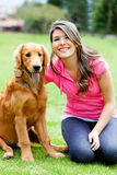 Woman with a dog Stock Image