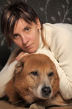 Woman with a dog Royalty Free Stock Photography