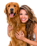 Woman with a dog Stock Images