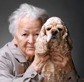 Woman and dog. Close-up portrait of an old woman with american spaniel on a gray background royalty free stock photography