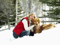 Woman and dog. Stock Photos
