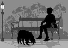 Woman and dog. Siting on the bench royalty free illustration