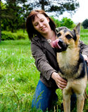 Woman with dog. Happy woman with dog outdoor Royalty Free Stock Photos