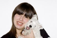 Woman with dog. Woman and her happy dog Royalty Free Stock Images