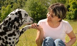 Woman with a dog Royalty Free Stock Photos