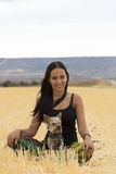 Woman with dog. Beautiful woman relaxing with is dog Royalty Free Stock Photo