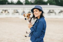 Woman with dog. Stock Photography