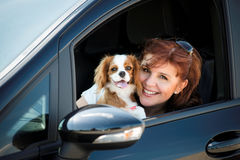 Woman and dog car portrait Stock Photography
