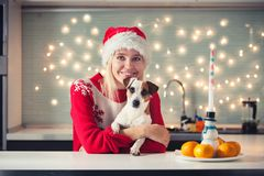 Woman with dog at christmas hat Royalty Free Stock Photos