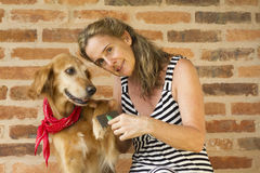 Woman taking care of her golden retriever dog. Woman  smilling while combing  her golden retriver dog Royalty Free Stock Image