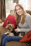 Woman dog couch Stock Image