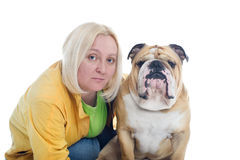 Woman with a dog english bulldog isolated Royalty Free Stock Image