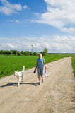 Woman with a dog goes on a road Royalty Free Stock Photo