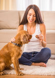 Woman with dog. Happy woman is playing with a dog and feeding him Royalty Free Stock Photo