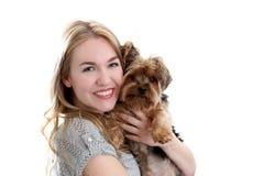 Woman dog Stock Photography
