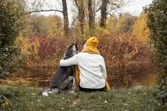 Woman and dog husky seating and having fun together. Outdoor stock photography