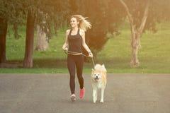 Jogger and akita dog running outdoors royalty free stock image