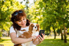 Woman, dog and mobile phone Stock Photography