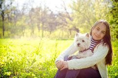 Woman with dog. In the park Royalty Free Stock Images