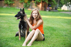 Woman  with dog Stock Photography