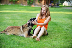 Woman  with dog. Woman playing with dog on grass Stock Photography
