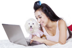 Woman and dog playing laptop Royalty Free Stock Photography