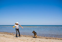 Woman and dog playing at sea. Woman and german shepperd dog playing with ball at sea Royalty Free Stock Image