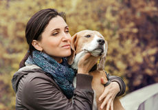 Woman with dog portrait Royalty Free Stock Images