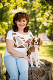 Woman and dog portrait Stock Photography