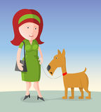 Woman with dog. Woman with red hair and a dog, cartoon illustration Stock Images