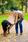 Woman and dog at retrieving stick game. In fall park on dirt path royalty free stock images