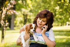 Woman and dog selfie Royalty Free Stock Photo