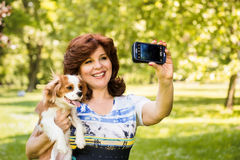 Woman and dog selfie Royalty Free Stock Images