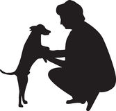Woman and dog silhouette vector royalty free illustration