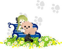 A woman and a dog sitting on the bench Royalty Free Stock Photos