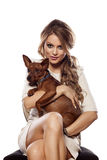 Woman with a dog Royalty Free Stock Images
