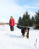 Woman with dog in snow Royalty Free Stock Photo