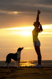 Woman and dog success and sport Stock Image