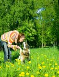 Woman is dog training Royalty Free Stock Images