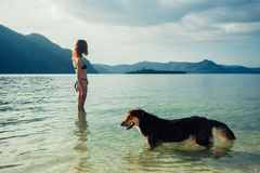 Woman with dog on tropical beach Royalty Free Stock Photography