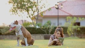 Woman with dog. And holding a tablet stock footage