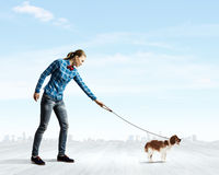 Woman with dog. Young woman in casual walking with dog on lead Stock Image
