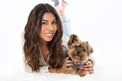 Woman and dog. Young woman and her dog Royalty Free Stock Image