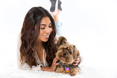 Woman and dog. Young woman and her dog Stock Photography
