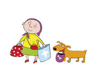 The woman with the doggie. vector. The woman with the doggie go to shop Stock Photo