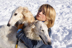 Woman with the  dogs Stock Photos