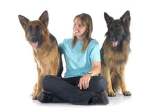 Woman and dogs Royalty Free Stock Photo