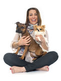 Woman and dogs Stock Images